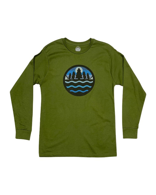 The Great Lakes State Cool Winter Green Logo Long Sleeve T-Shirt - Army Green