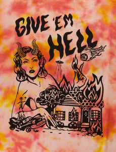 """Give 'em hell"" Red Tie-dyed T-shirt"