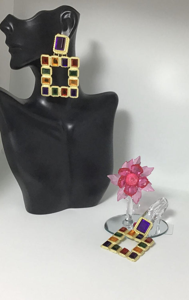 Erykah's Touch, Multi Color Stone earrings - Le Royale Collection. Inc Boutique