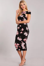 Load image into Gallery viewer, Rose off shoulder Midi dress