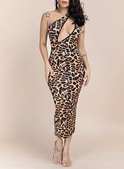 La Capitana Animal Print Midi Dress - Le Royale Collection. Inc Boutique