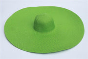 Tiara oversized Straw Sun Hat Lime Green - Le Royale Collection. Inc Boutique