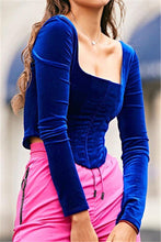 Load image into Gallery viewer, Pretty Girl Corset Square Neck Long Sleeve Velvet blouse Top