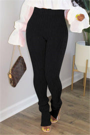 Knitted & fly Slit High Waist Leggings Pants - Le Royale Collection. Inc Boutique