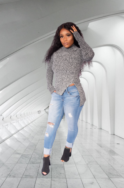 Icy Blazed Knitted genuine wool pullover sweater - Le Royale Collection. Inc Boutique