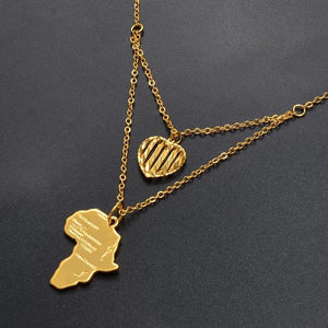 Heart of Gold Layered Africa Map Pendant Necklace