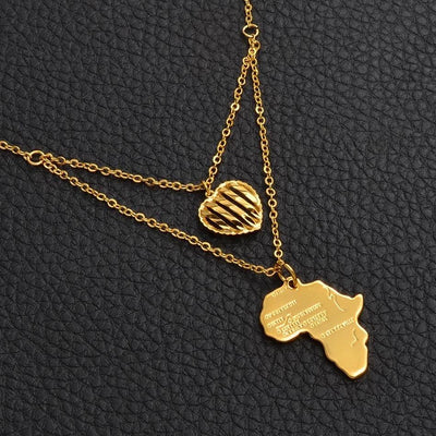 Heart of Gold Layered Africa Map Pendant Necklace - Le Royale Collection. Inc Boutique