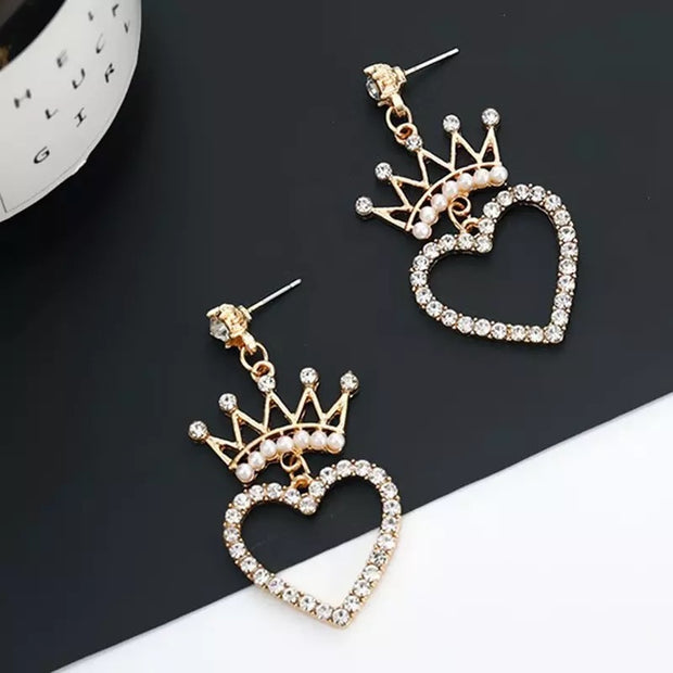 The Crowned Gold plated Crown Heart Drop Earrings