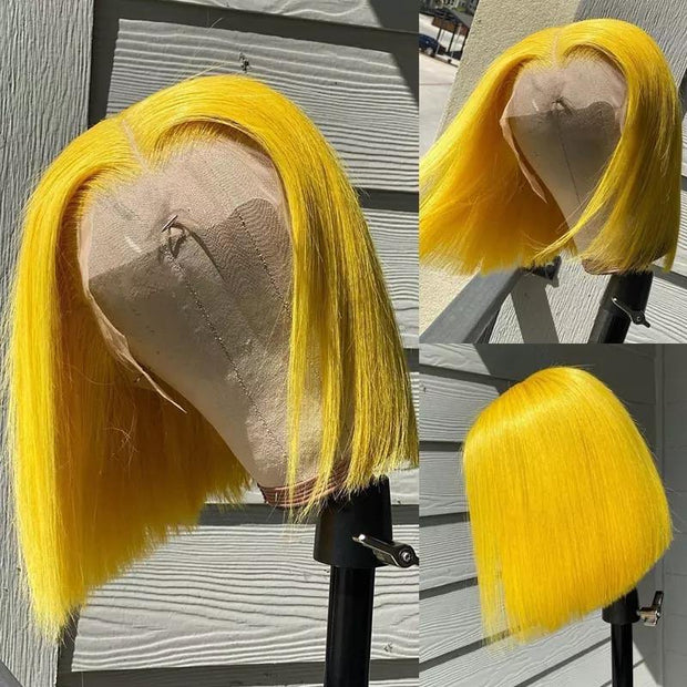 Temptress 613 Colorful Yellow Pink Lace Front bob  Remy Hair Wig - Le Royale Collection. Inc Boutique