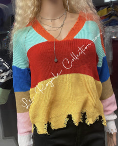 Sizzled Distressed Knitted Sweater