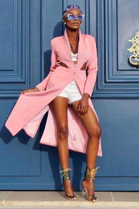 Bossy Babe Pink  Trench Pea Coat