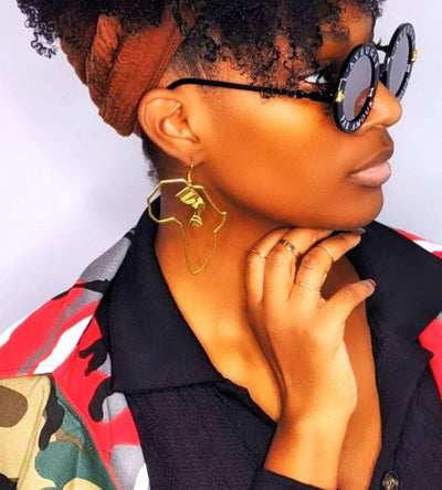 The Tribe Map Of Africa Oversized Earring - Le Royale Collection. Inc Boutique