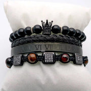 Kenya Black is King Men Gold platted Black beaded bracelet Set - Le Royale Collection. Inc Boutique