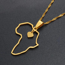 Load image into Gallery viewer, Open Heart Africa Map Pendant Necklace