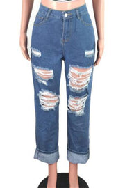 Diva High Waisted Ripped Mom Jeans - Le Royale Collection. Inc Boutique