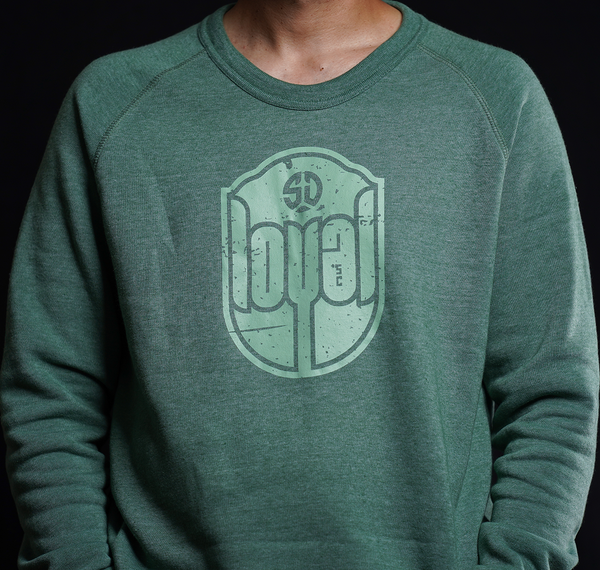 Unisex Loyal Vintage Crewneck Sweater in Green