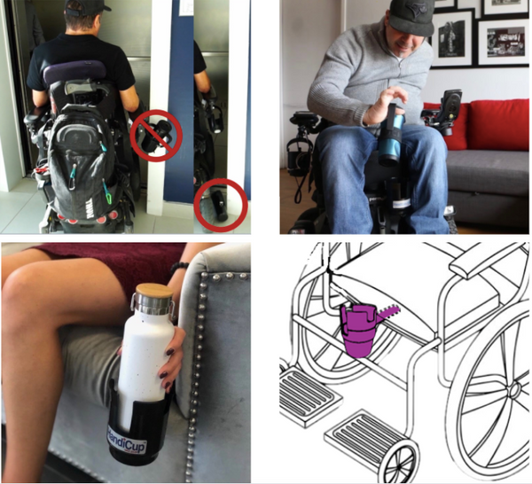 Handicup will help you get through door ways, easy access for different level hand function, store your belongings, and can be used on a couch. it slides under the seat cushion