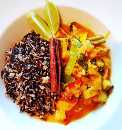 Vegan and Gluten-Free, Spicy Tofu Curry with Black Rice