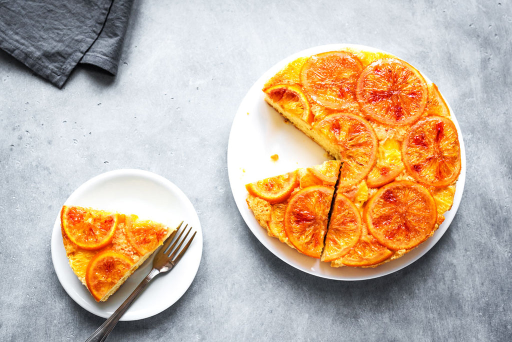 Upside down orange and turmeric cake