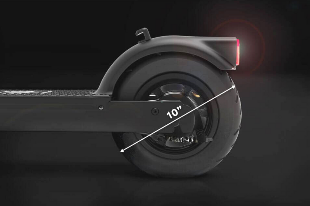 PURE AIR Black Adult electric scooter. Rear wheel close up with 10 inch measurement