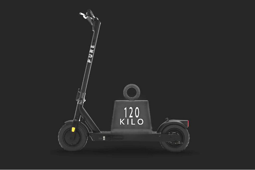 PURE AIR Black Adult electric scooter. Left side view with 120kg weight on deck