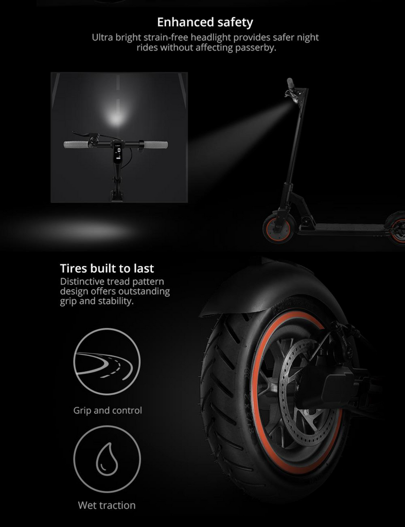 KUGOO M2 PRO Adult electric scooter lights & tyres
