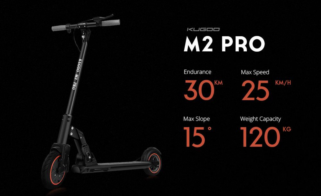 KUGOO M2 PRO Adult electric scooter infographic specs