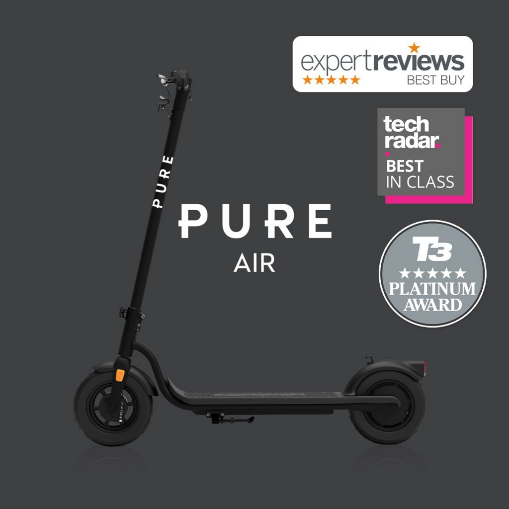PURE AIR Black Adult electric scooter. Left side view. Reviews and award tags