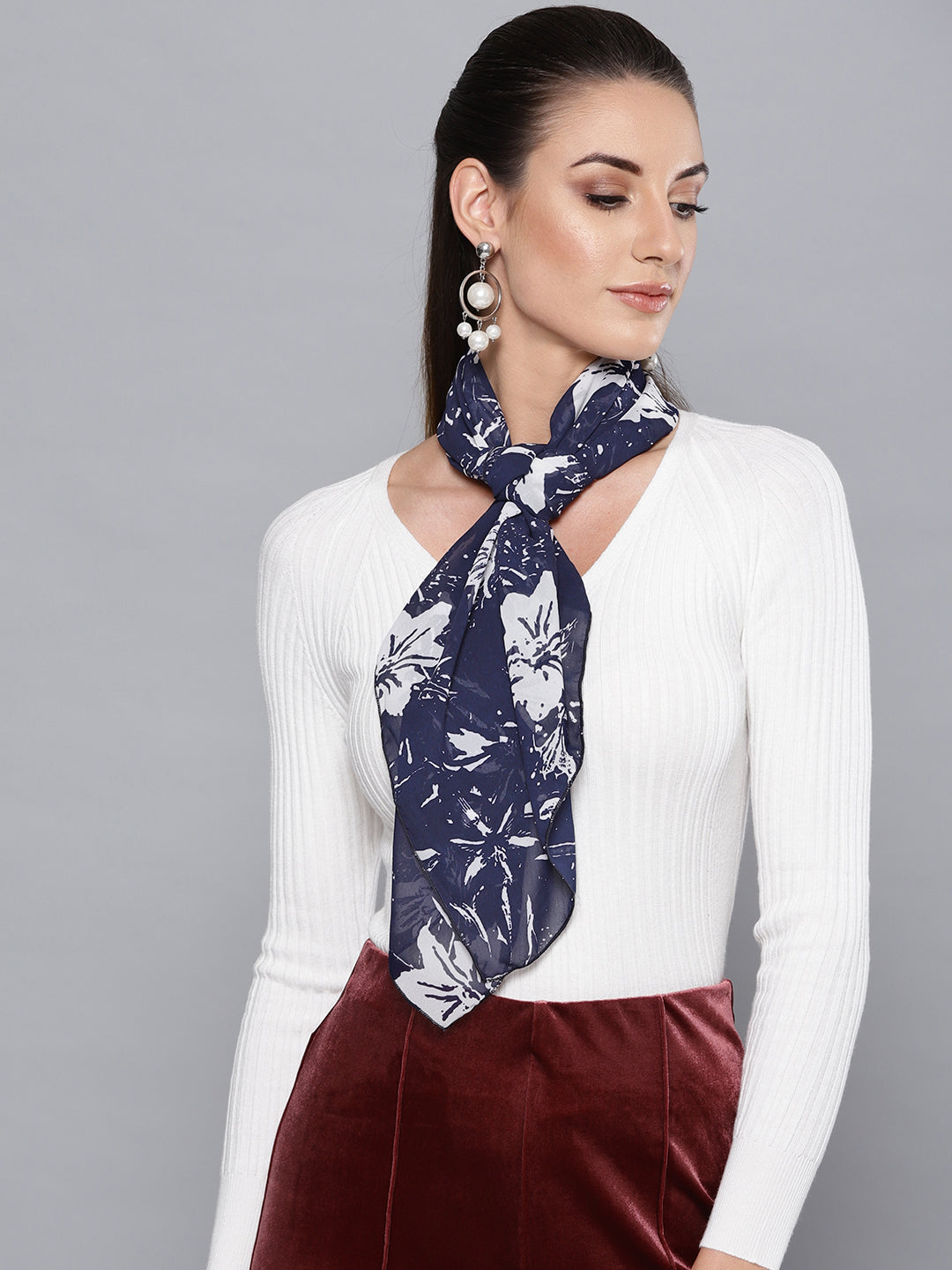 Navy Blue Floral Scarf
