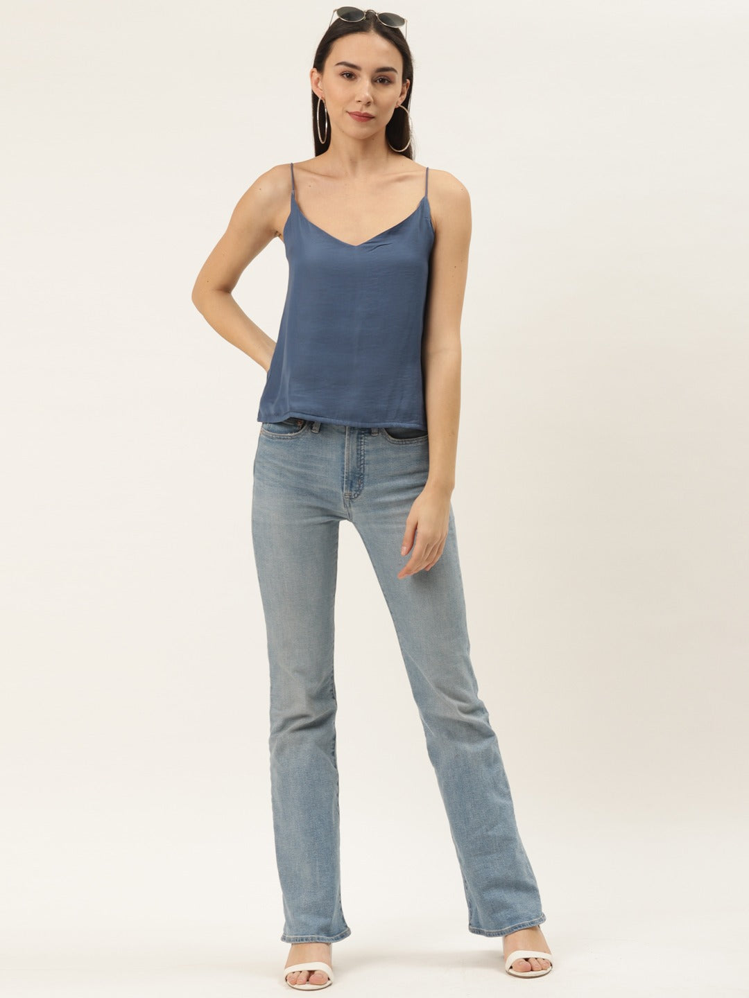 Solid Blue Basic Top