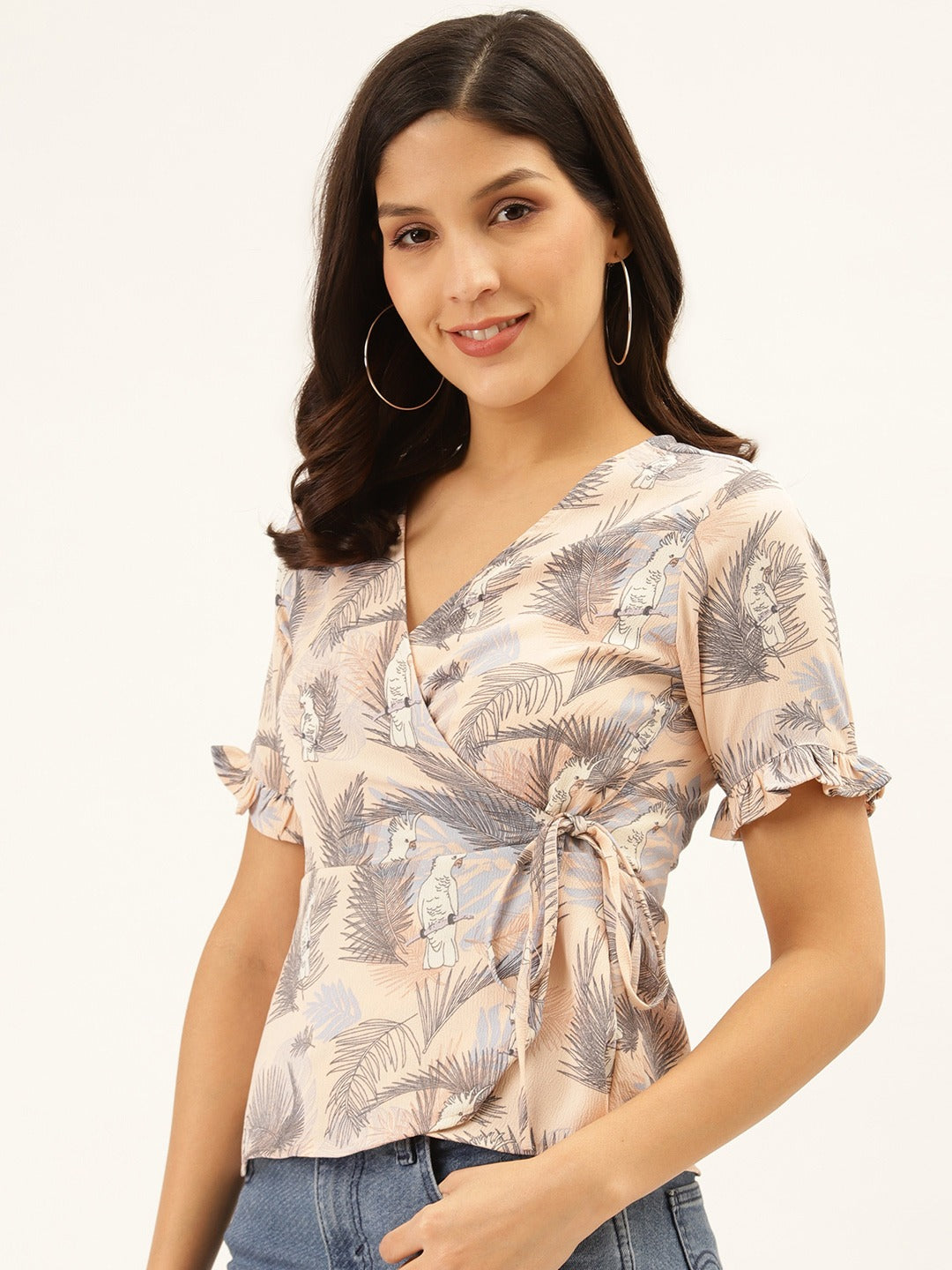 Tropical Overlap Peplum Top