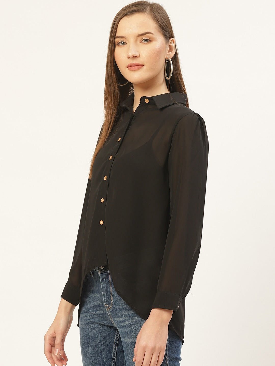 Curved Hem Solid Shirt