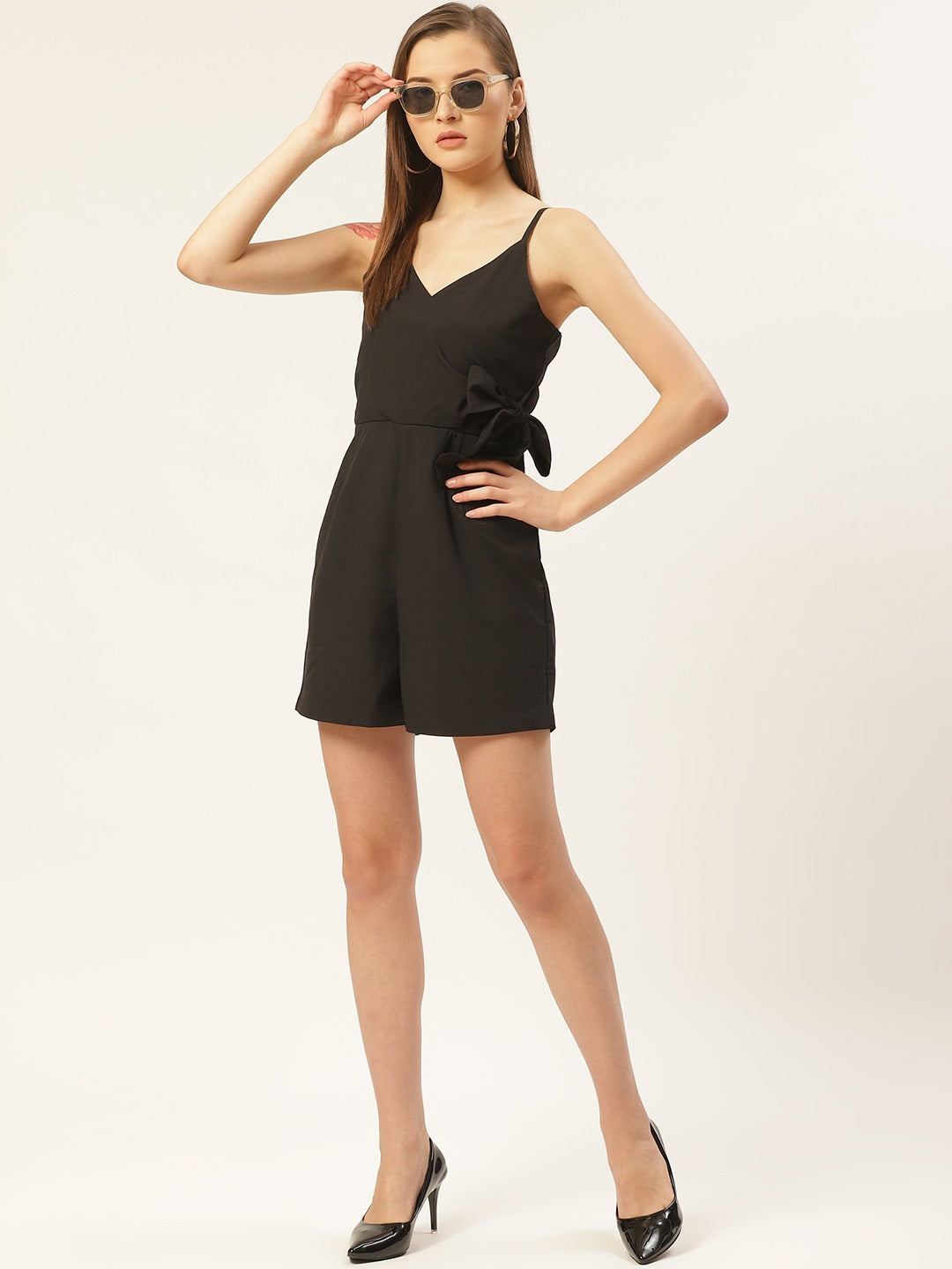 Lush Black Solid Playsuit