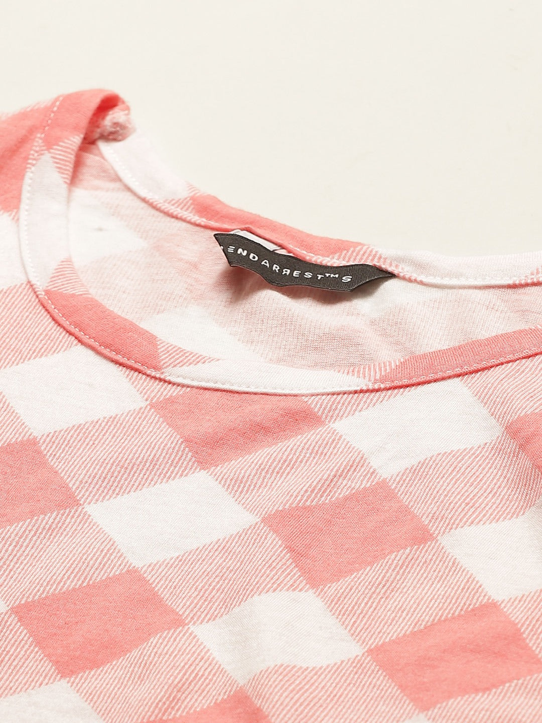 Pink Check Crop Top