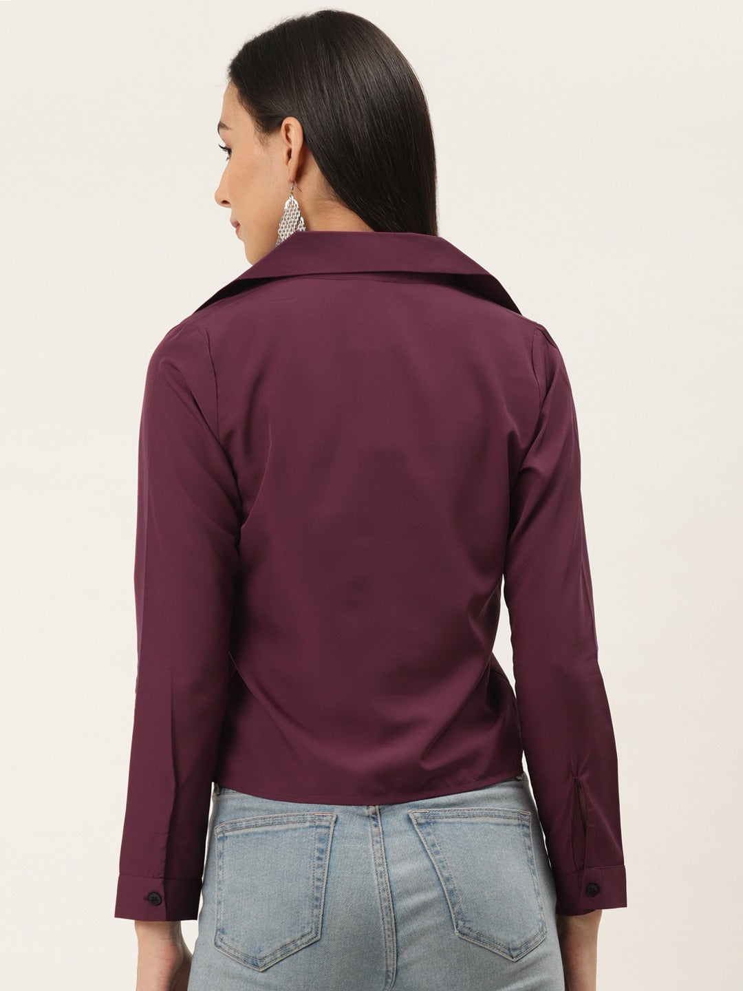 WINE Solid Front Knot Shirt