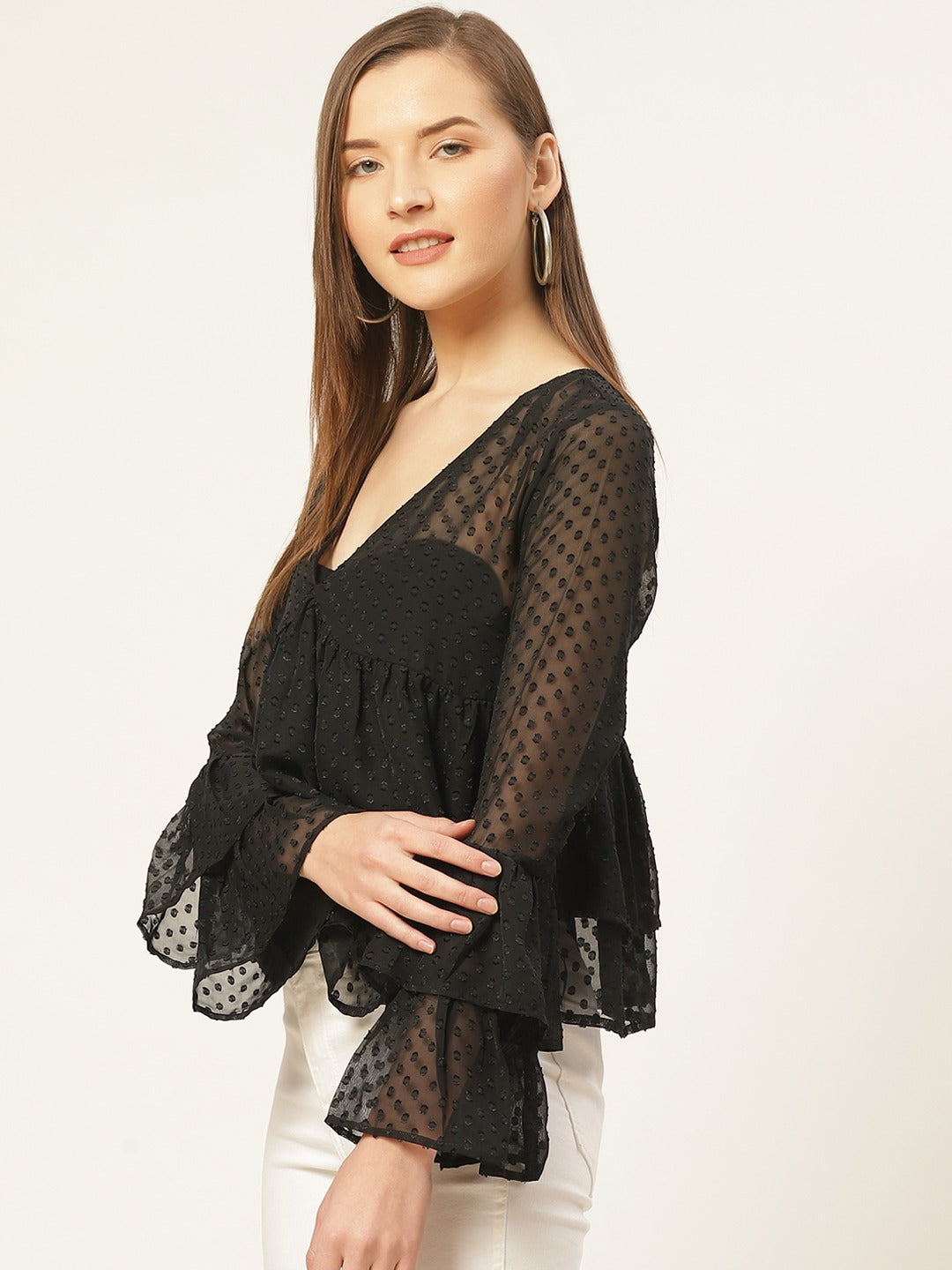 Black Dobby Flared Top