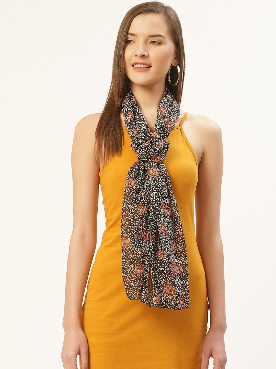 Black Abstract Print Scarf