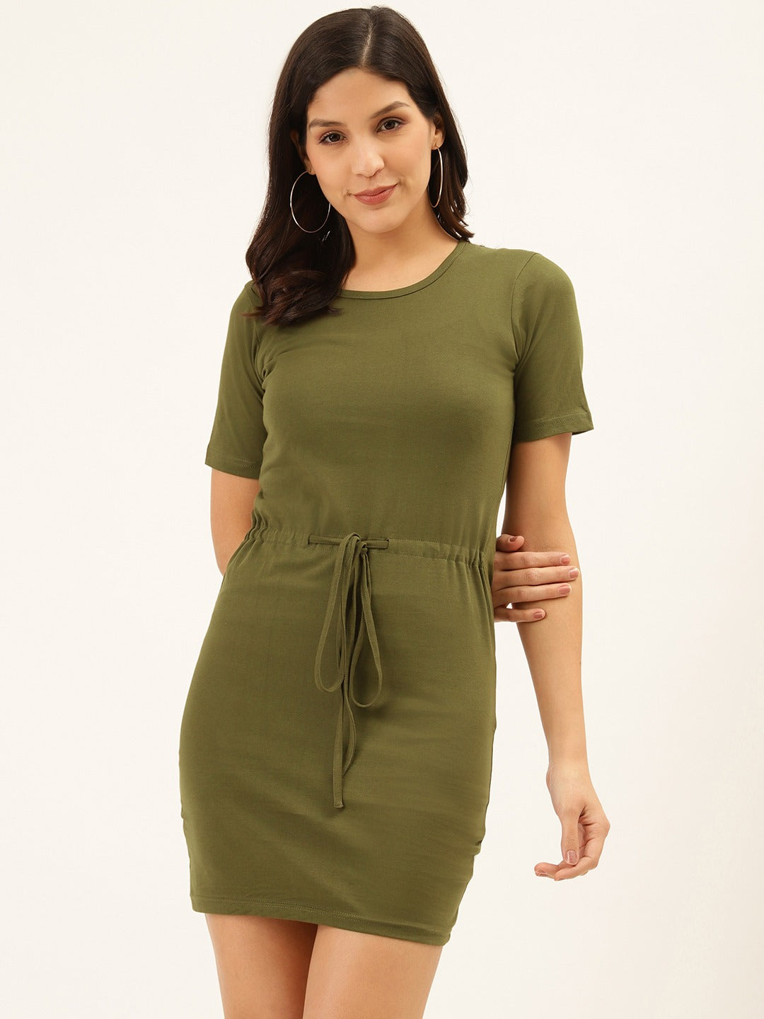 Basic Drawstring Olive Dress