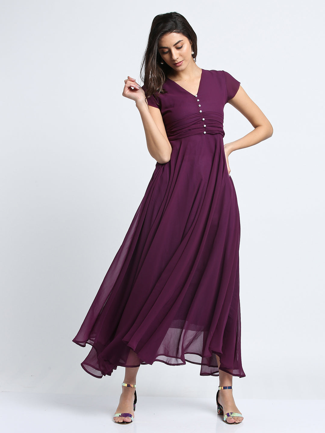 Pearl Detailed solid Purple Dress
