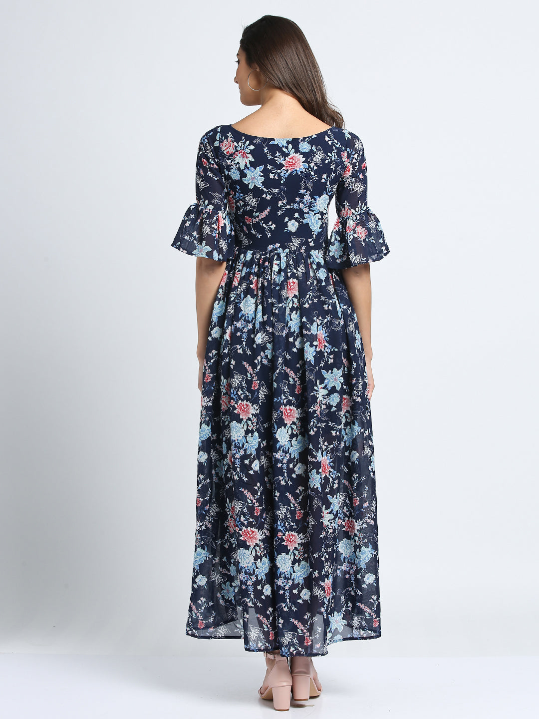 Bell Sleeves Floral Print Maxi Dress