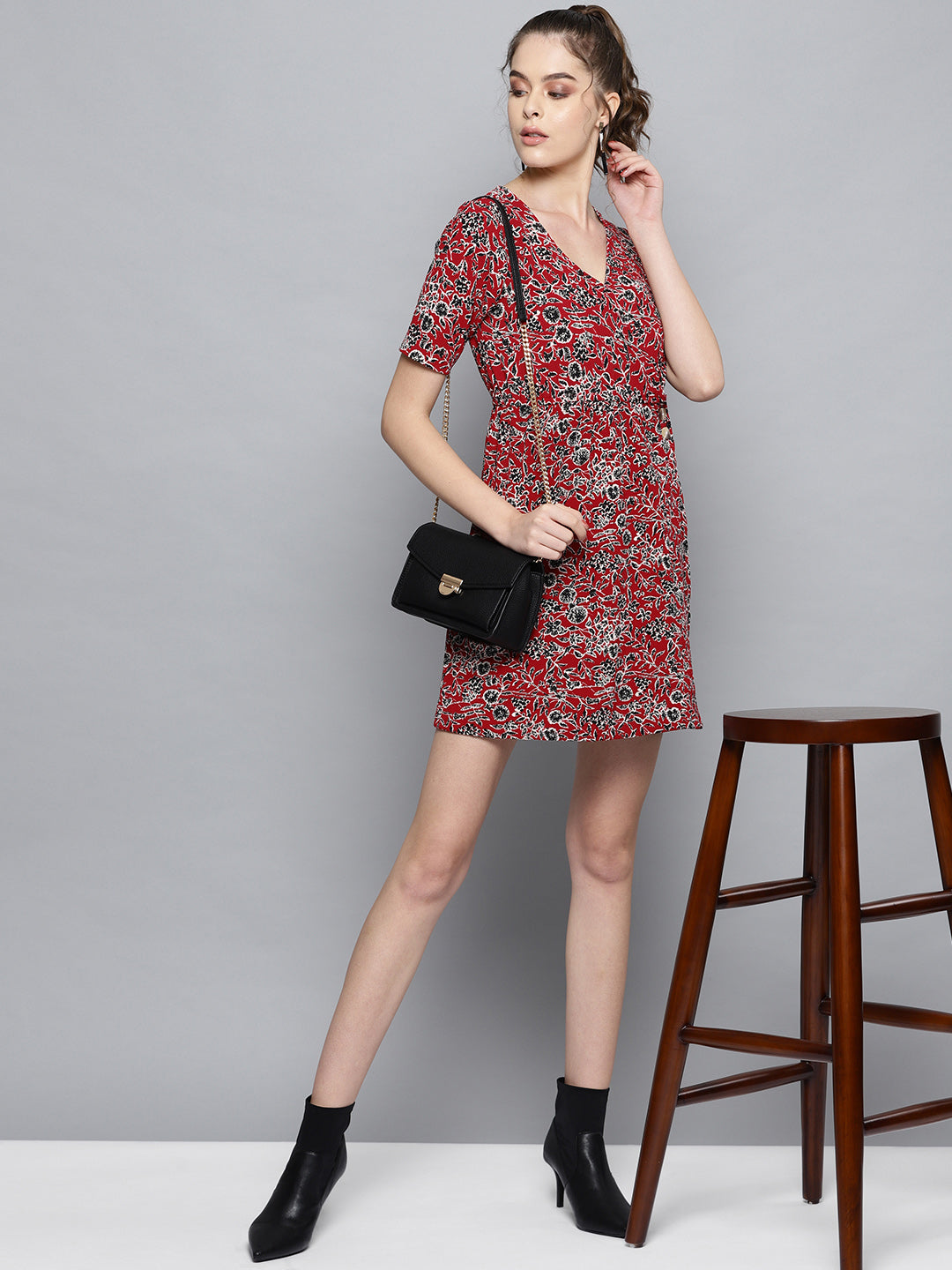 Floral Print Wrap Short Dress