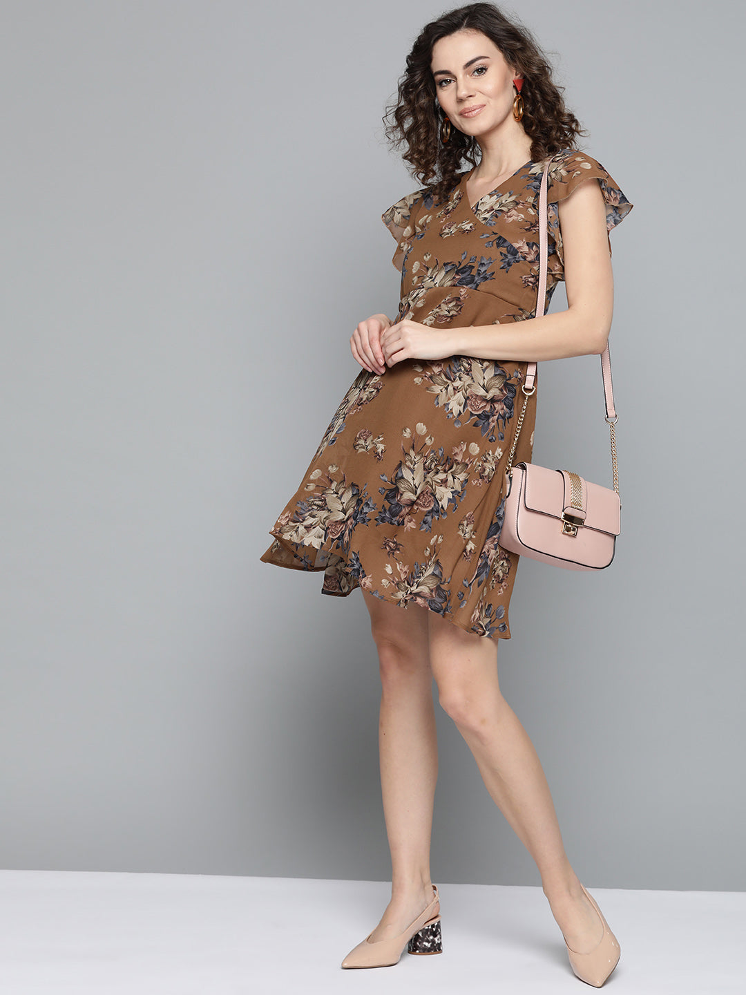 Brown Floral Dress