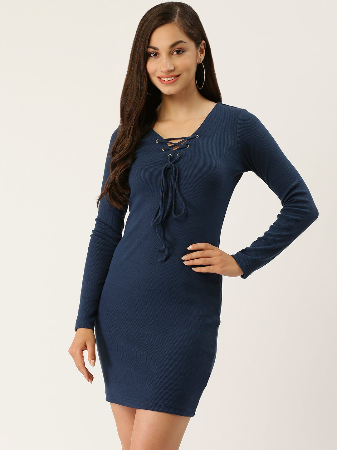 Lace Up Knit Bodycon Blue Dress