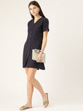 V Neck Button Front Dress