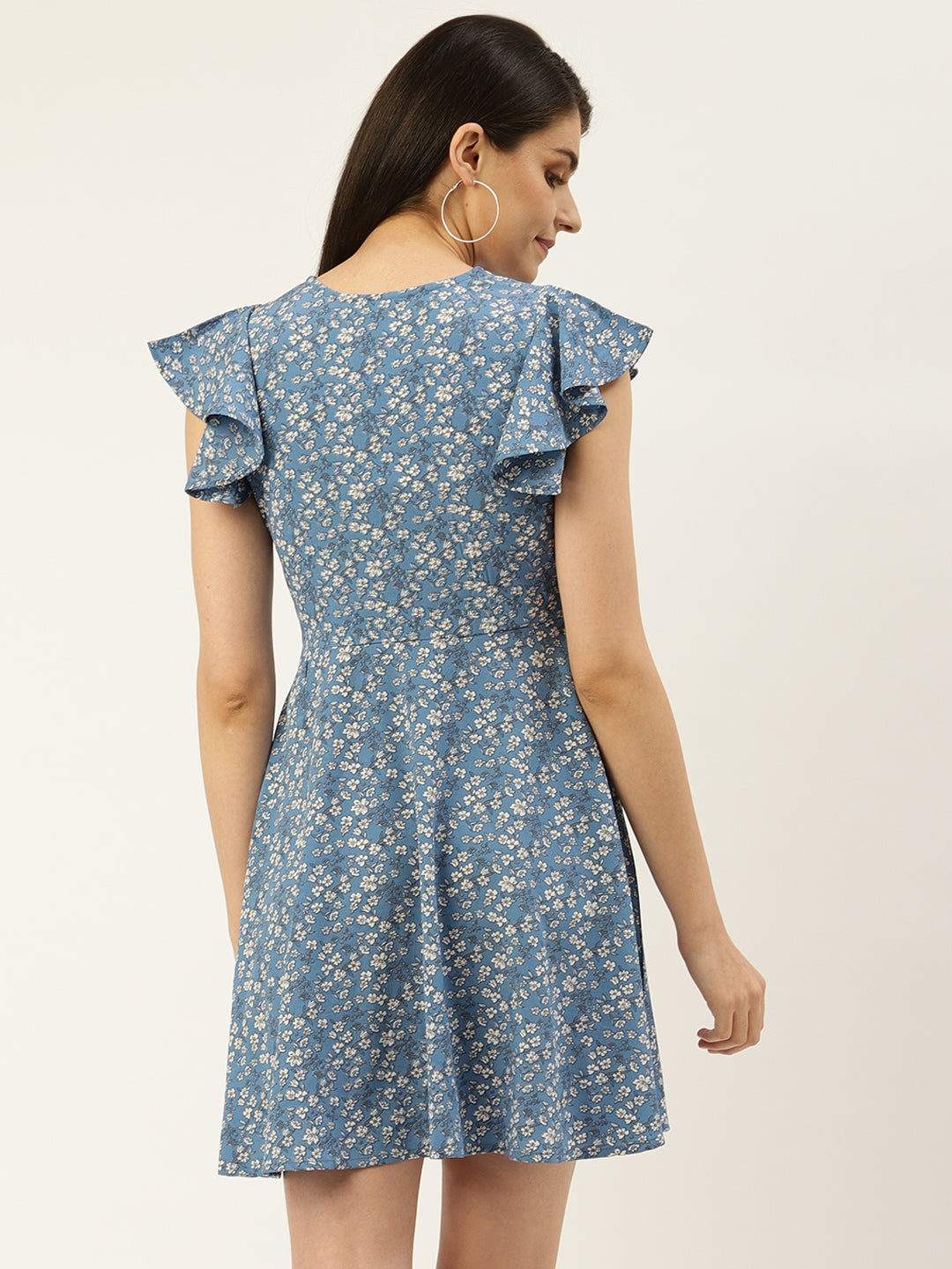 Blue Ditsy Floral Dress