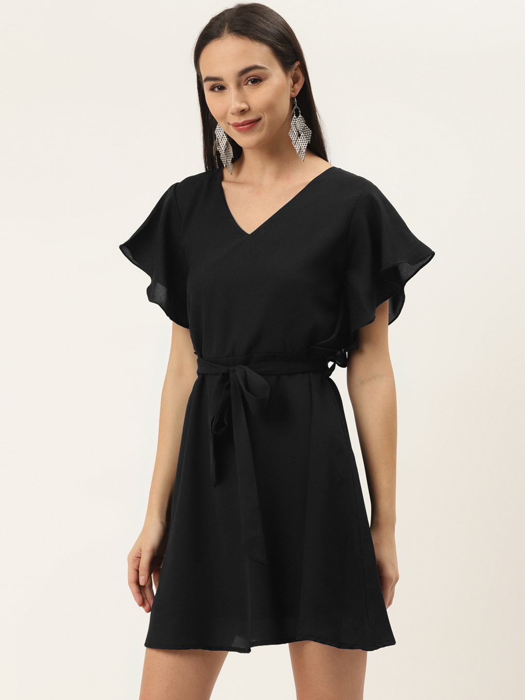 Solid Party Black Dress