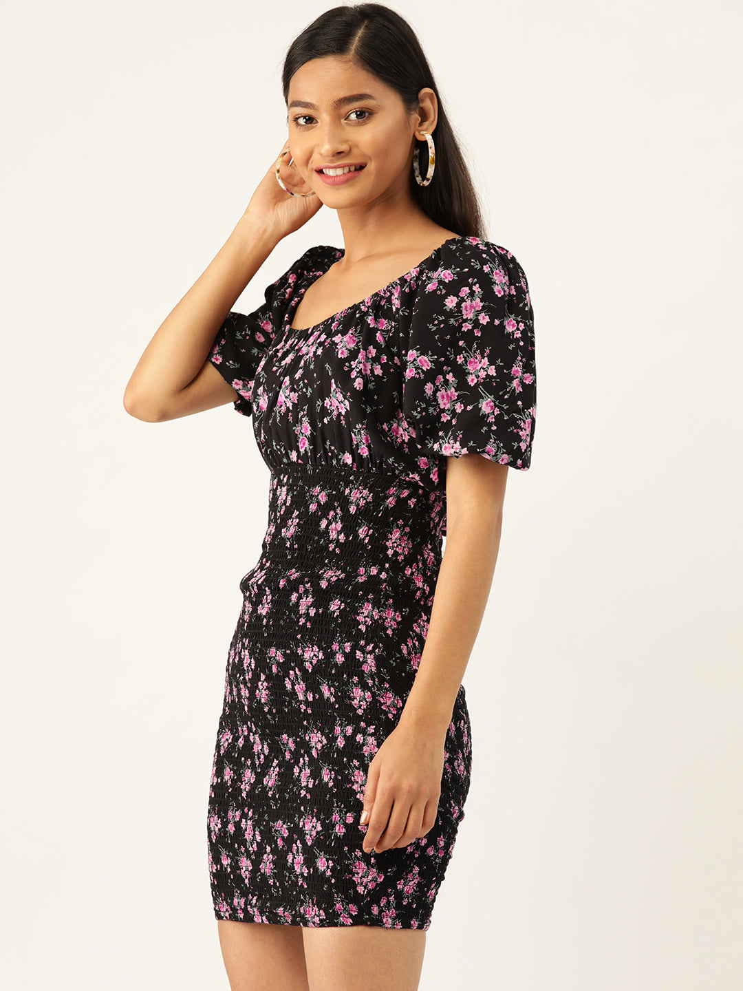 Floral Smocked Sheath Dress