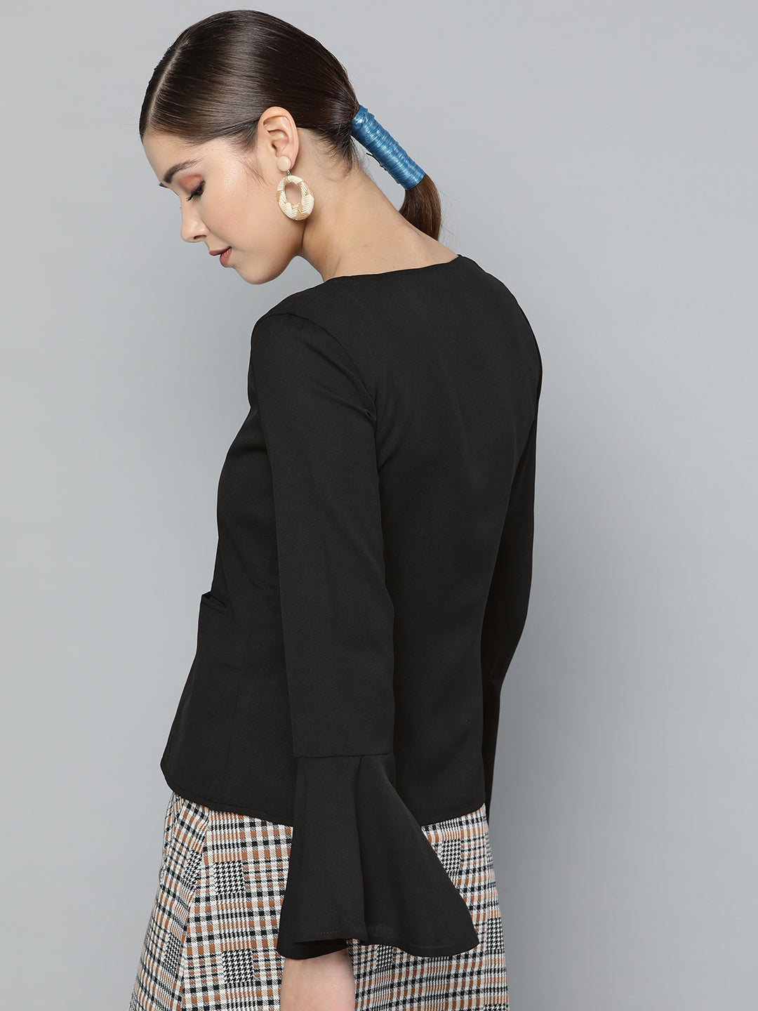 Bell Sleeves Solid Black Jacket