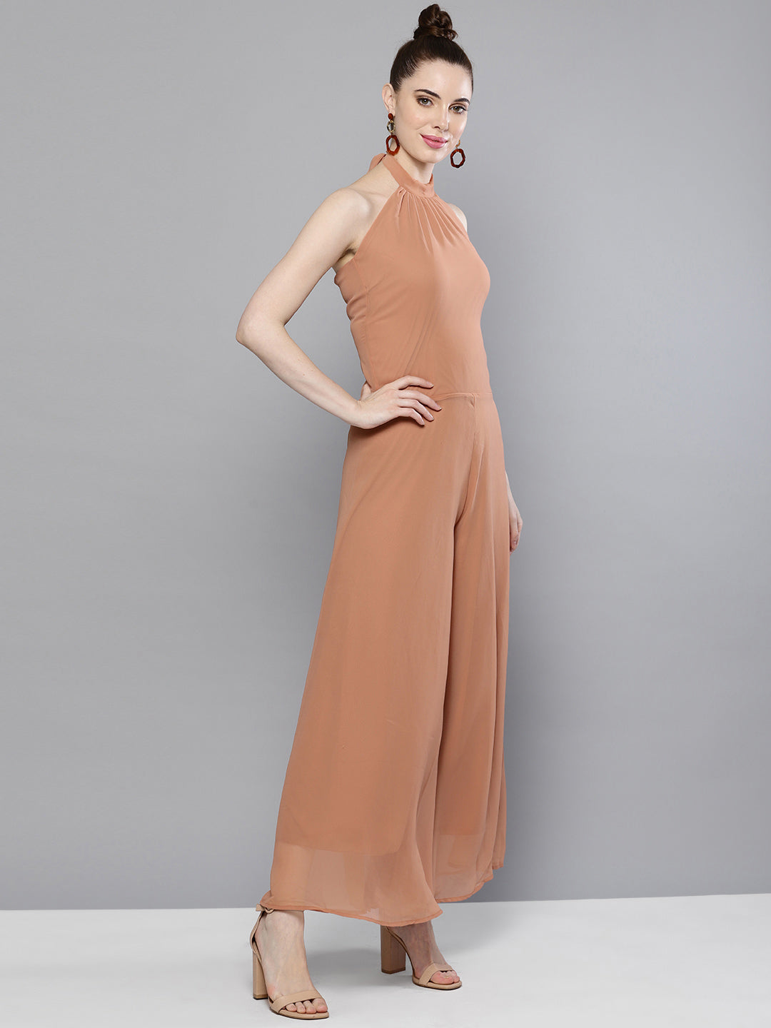 Solid Nude Flared Jumpsuit