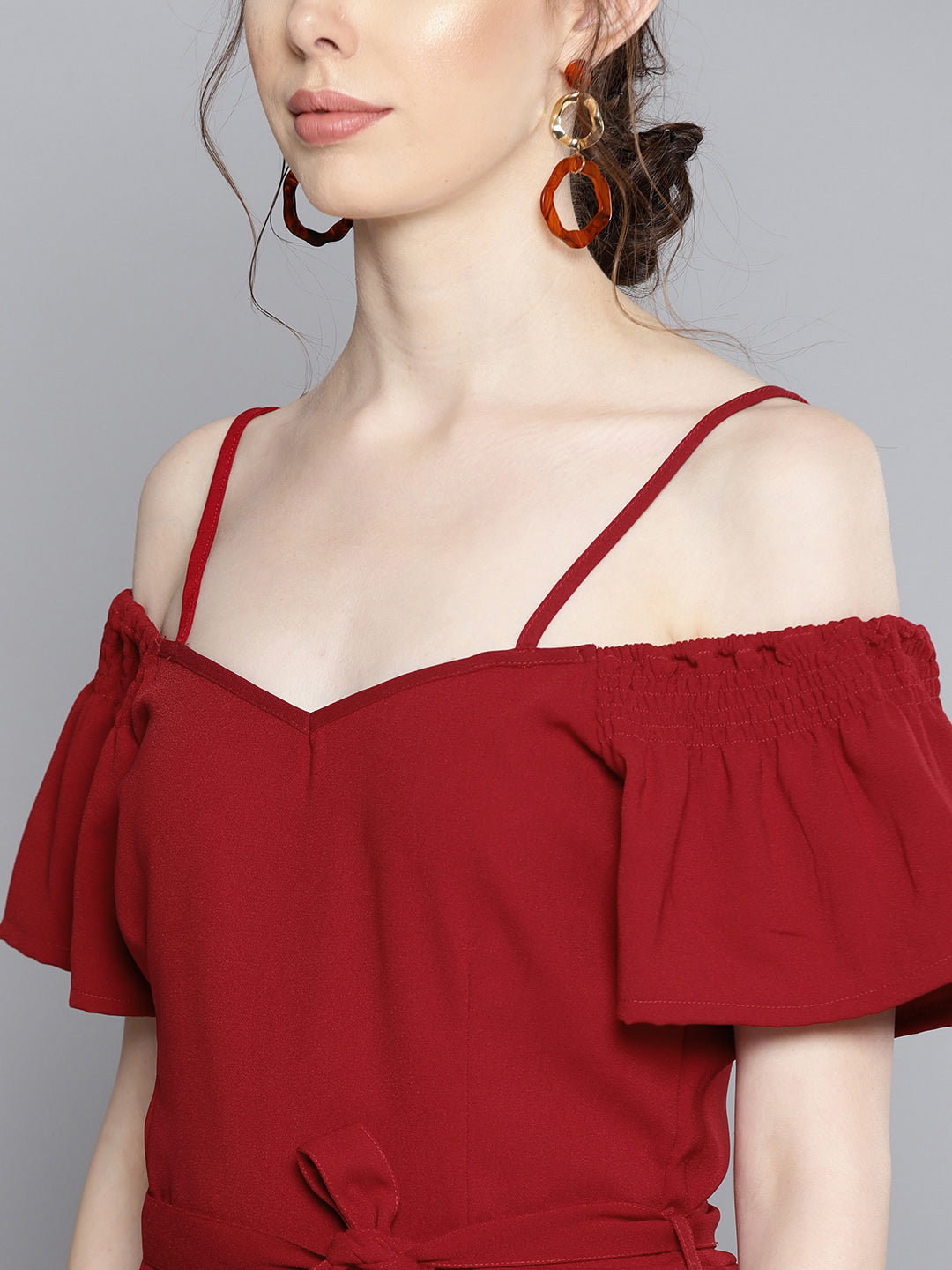 Solid Maroon Off shoulder Jumpsuit